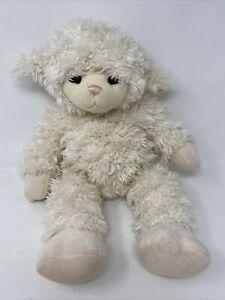 Build A Bear Lamb Baby Sheep Shaggy Ivory Plush Stuffed Animal Toy Pink Nose