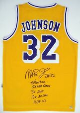 Magic Johnson Autographed LA Lakers NBA Basketball Yellow Stat Jersey ASI Proof