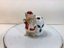 Vintage Christmas Bear Santa Toothbrush Holder Ceramic Japan