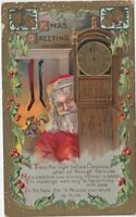 Santa Claus with Grandfather Clock Antique Embossed ~Christmas Postcard~p734