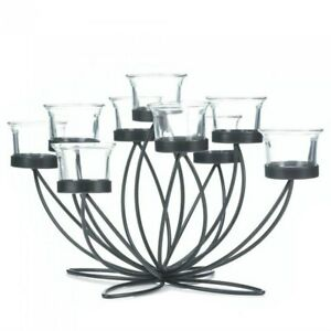 Nine Candle Holder Metal Centerpiece Wedding Dining Table Tealight Glass Cups