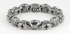 Men's Beautiful New Stainless Steel Christian Square Cross Biker Greek Bracelet