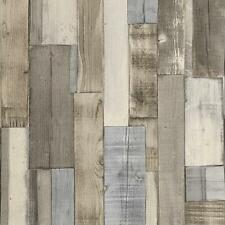 RASCH FACTORY WOOD PANEL BEAM PATTERN FAUX EFFECT TEXTURE WALLPAPER GREY BROWN