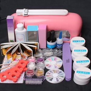Pink/White 9W UV Dryer Lamp&Nail Art Glitter Powders Full False Tips Gel Set Kit