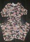 Girls justice cozy tie waist pink camo jumpsuit size 7