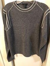 Club Monaco Men Gray Wool Sweater White Trim Sz S