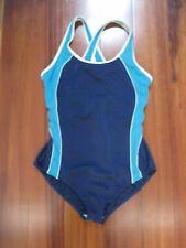 Lands End Women's One Piece Swimsuit Blue Color Block Cross back Size 16