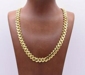 10mm Edge Miami Cuban Link Monaco Chain Necklace CZ Lock Real 10K Yellow Gold