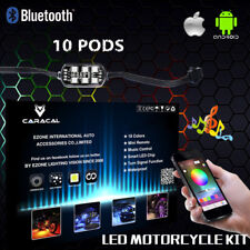 10PC LED Motorcycle Under Glow Neon Pod Light Kit Multi Color LED APP Control