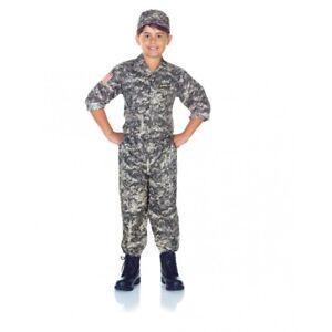 US Army Camo Costume Uniform Child Boys General Military Halloween Grey S-XL