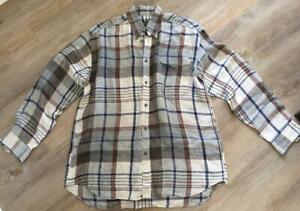 TRENT NATHAN designer LINEN mens M L long sleeve NEUTRAL check SHIRT classic fit