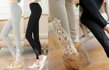 Mujer Encaje Delgado Elástico Algodón Talle Alto Leggings De Tubo Pantalones