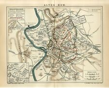 1905 ANCIENT ROME CITY and SUBURB ROMAN EMPIRE ITALY Antique Map