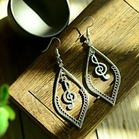 Vintage Women Bohemian Tibetan Carved Elegant Silver Note Heart Dangle Earrings