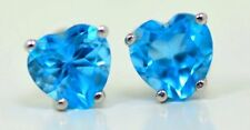 2 Ct Blue Topaz 6mm Heart Shape Stud Earrings White Gold Silver