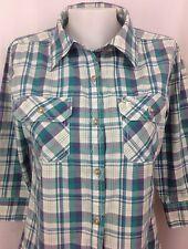 Carhartt Purple/White/Teal Plaid 3/4 Sleeve Button Women's Shirt Small S ~ EUC