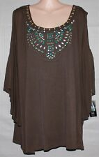 NEW INC brown summer top beautiful front design SIZE 3X RRP 99.99