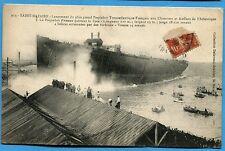 CPA: SAINT-NAZAIRE -  Le Paquebot France quittant la Cale / 1916