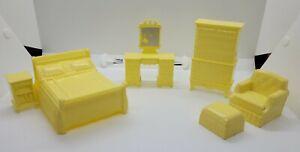 Marx Vintage Dollhouse Furniture Bedroom 6 Piece Set Toys Yellow