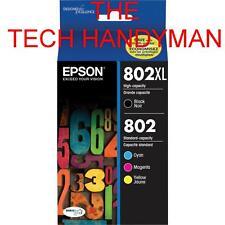 4-PACK Epson GENUINE 802XL Black & 802 Color Ink (NO RETAIL BOX) EC-4030 EC-4040