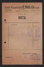 DRESDEN, Rechnung 1923, E. Holl & Co Nachf. Patent-Waagen-Fabrik