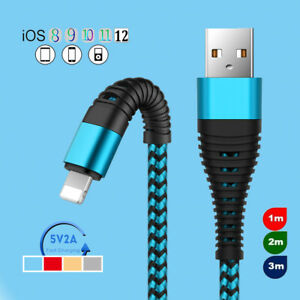 3/6/10ft Strong Braided USB Fast Charger Charging Data Cable For iPhone 8 7 6s 5