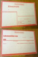 """EBS Germany 1943 WW2 """"Sign of Life"""" card - Eilnachricht / Lebenszeichen red/rot"""