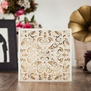 50 Wishmade CW6109 Ivory Square Wedding Invitations w/Envelopes, Thank You Cards