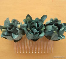 TripleTeal Dahlia Silk Flower Hair Comb,Dance,Prom,Bridal,Party,Wedding