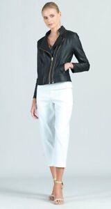 Clara Sun Woo Soft Stretch Liquid Leather Double Zip Packets Jacket Black Sz.S