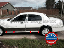 """1998-2011 Lincoln Town Car 8Pc Rocker Panel Molding Trim 9"""" BW Stainless Steel"""