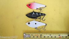 3 LIGHT WEIGHT VIBRANT PLASTIC FLY FISHING LURE NEW NO BOX 3D EYES FOR BASS,PIKE