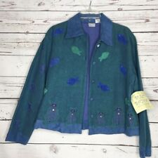 Bleu Bayou Womens Fish Cats Button Collared Jacket Blue Green  Large