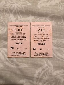 Pair Of Yes Concert Ticket Stubs 1975