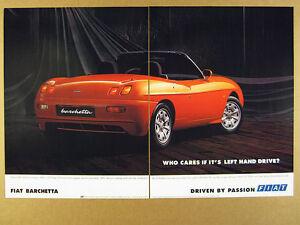 1998 Fiat BARCHETTA Roadster red car photo vintage print Ad