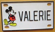 Walt Disney Mickey Mouse VALERIE Bike Pedal Car Vanity Name Mini License Plate