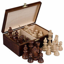 "Staunton No. 6 Tournament Chess Pieces in Wooden Box - 3.9"" King"