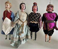 4 antike Marionetten um 1900 für Puppentheater, altes Spielzeug