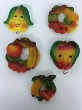 5 Vtg CHALK WARE  FRUIT  Wall Hangings BRIGHT COLORS  Nice