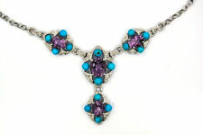 SOLID 925 STERLING SILVER NATURAL DIAMOND TURQUOISE AMETHYST NECKLACE
