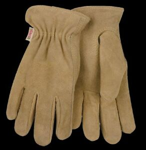 Kinco 54W Cowhide Suede Leather Gloves Womens Unlined Work Garden Tan