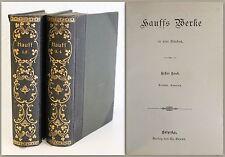 Hauffs Werke 4 Bde in 2 um 1900 goldgeprägter Einband Novellen Gedichte Lyrik xz