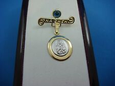 "14K 2 TONE GOLD ST. MARY PIN ""ΝΑ ΖΗΣΝ"" WITH EVIL EYE ,2 GRAMS, MADE IN GREECE"