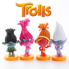4pcs Dreamworks Trolls PVC Action Figures Cake Topper Decor Figurines Kid Toy