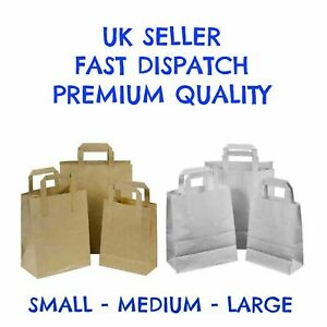 KRAFT PAPER BROWN & WHITE SOS FOOD CARRIER BAGS WITH HANDLES PARTY TAKEAWAY ETC