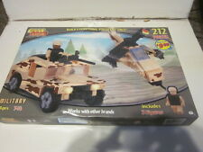 2 BEST-LOCK MILITARY BUILDING BRICK SETS  JEEP HELICOPTER AND WALKER