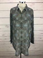 J Jill Sheer Blue Paisley Print Long Sleeve Tunic Shirt Top Women's Size PL