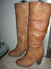 bottes cavalières cuir beige San  Marina boots leather 39 UK 6  chaussures shoes