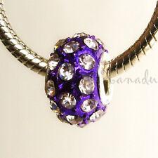 1pc Cristal Violeta con Tachuelas Agujero Grande Cuenta Todo Europeo Pulseras