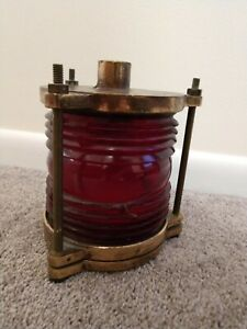 "Vintage 7.5"" Heavy Brass Red Lens Ship Boat Lantern Light 9-S-4461-L"
